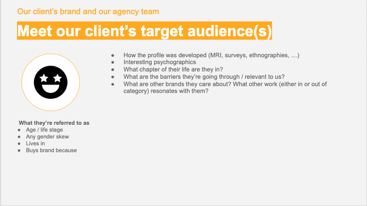 strategy onboarding - client audience