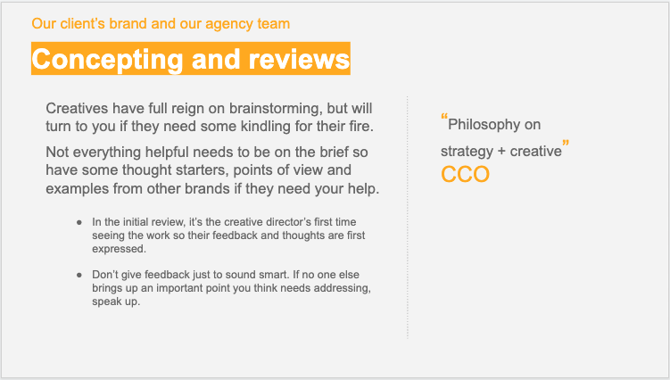strategy onboarding - concepting and reviews